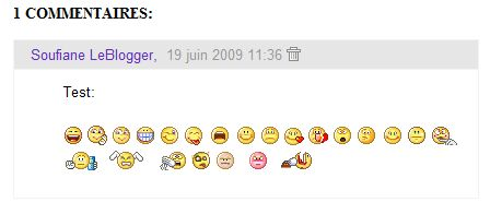 Smiley emoticone commentaire Blogger