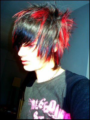 short hair red and black. Sims3 hair style addon, Short Black with Red Emo Hair. emo guys hair.