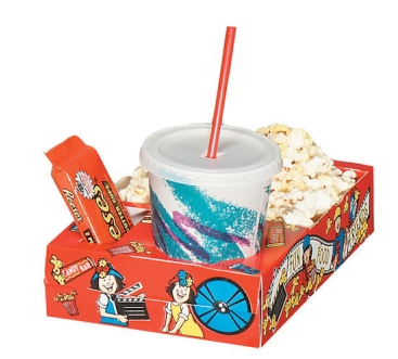 Popcorn And Drink With 3d Glasses And Clapper. Vector Illustration ...