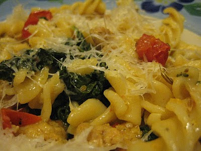 Bookcook: FUSILLI WITH SAUSAGE, KALE, AND CHERRY TOMATOES