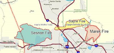 California: map of Sayre fire near Sylmar   Wildfire Today