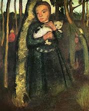 Mädchen mit katze im Birkenwald