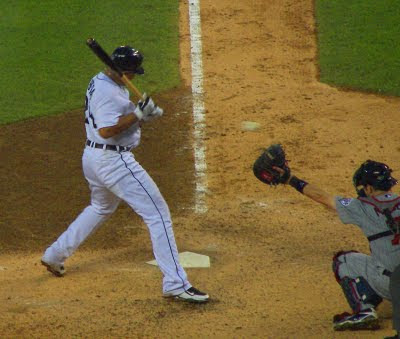 Miguel Cabrera being hit by a pitch from Carl Pavano; photo by historymike