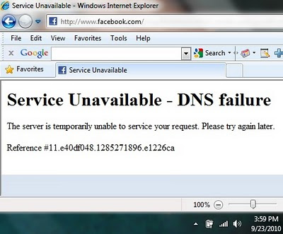 Left: screenshot of Facebook's DNS message to users