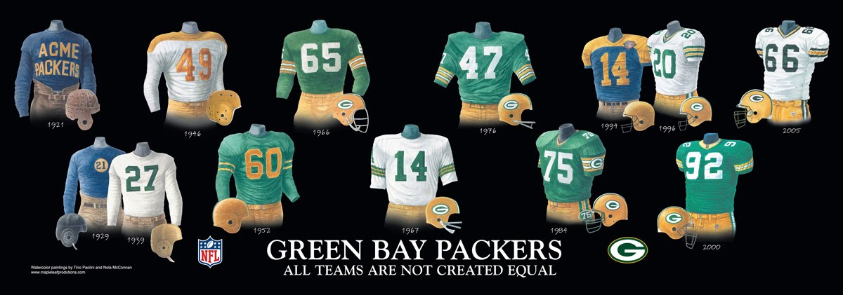 green bay packers jerseys history