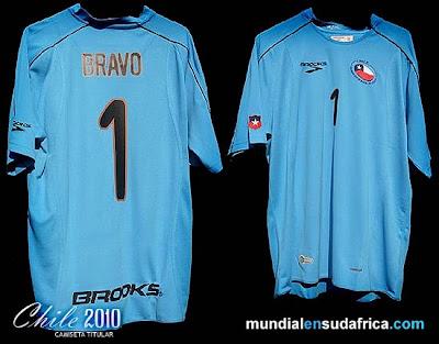 Camisetas Chile Mundial Sudáfrica 2010; Titular, Suplente y Portero (Brooks)