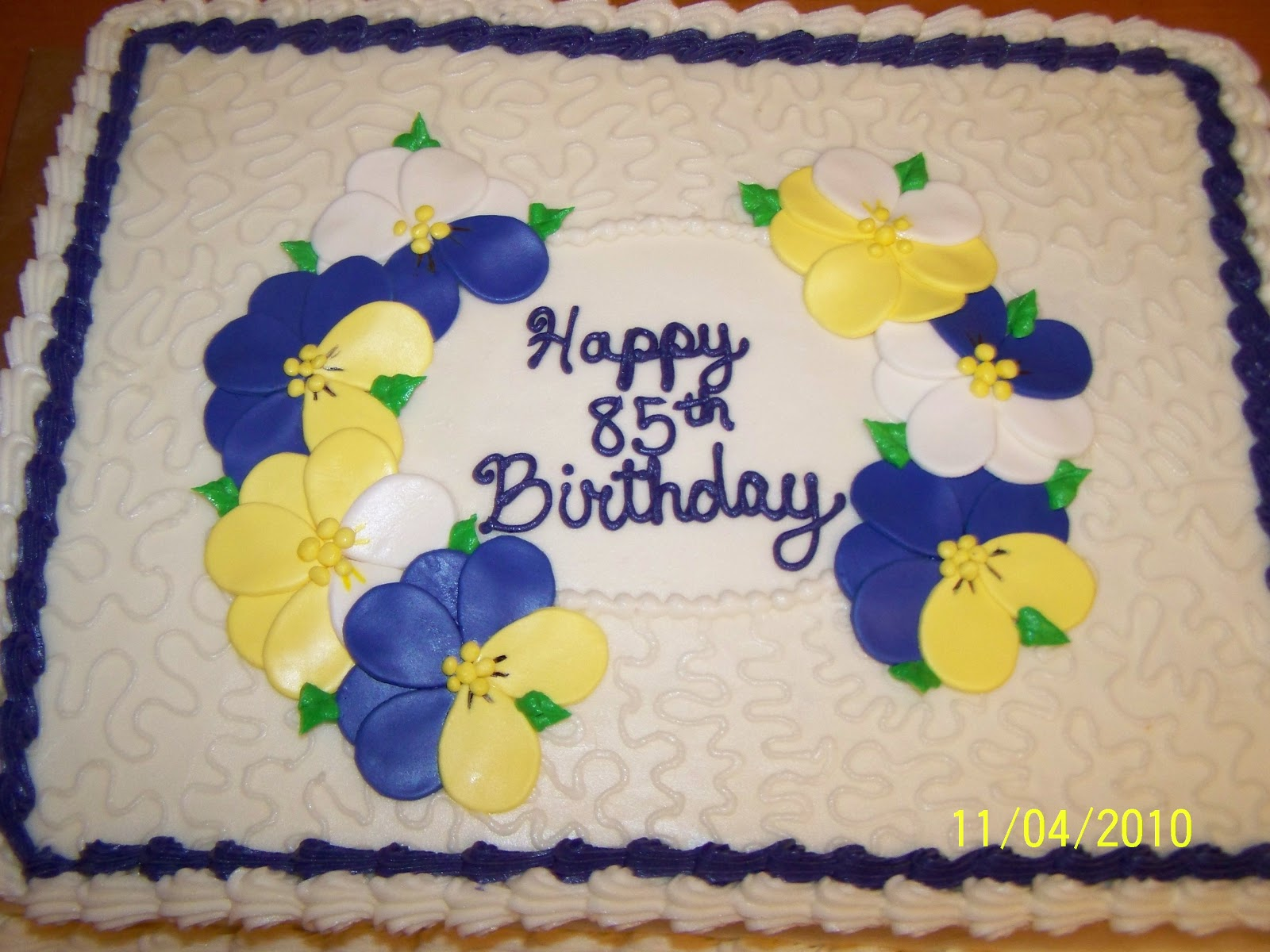 Cakes By Kristen H Pansies On A Sheet Cake