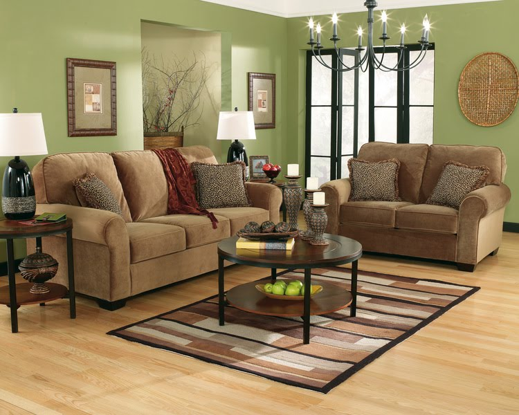 Home decor living room green wall color for Green and brown living room walls