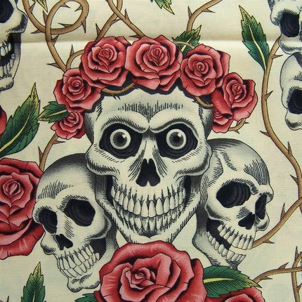 One yard of destash novelty fabric Skulls n Roses 39The Rose Tattoo 39 by