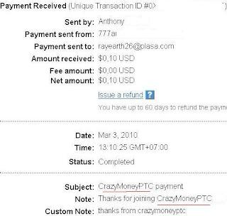 Bukti Pembayaran dari Crazy Money PTC