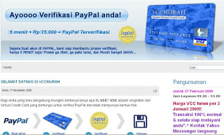 virtual credit card untuk verifikasi paypal