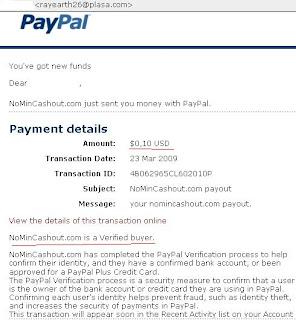bukti pembayaran dari PTC Nomincashout