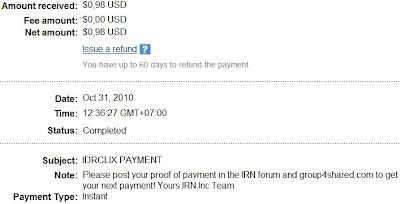 Bukti pembayaran dari IDR CLIX