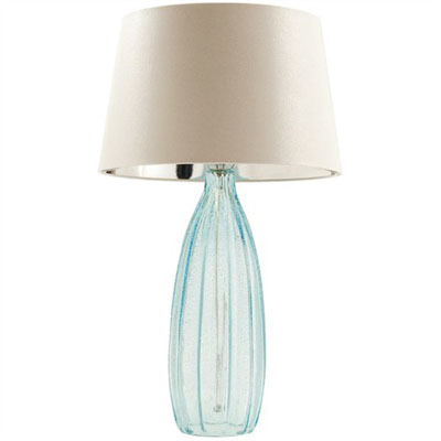 perry lamp 358 light blue glass base and white lamp shade above. Black Bedroom Furniture Sets. Home Design Ideas