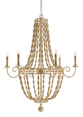 Transitional style lighting fixture made of painted wood and iron from Layla Grayce