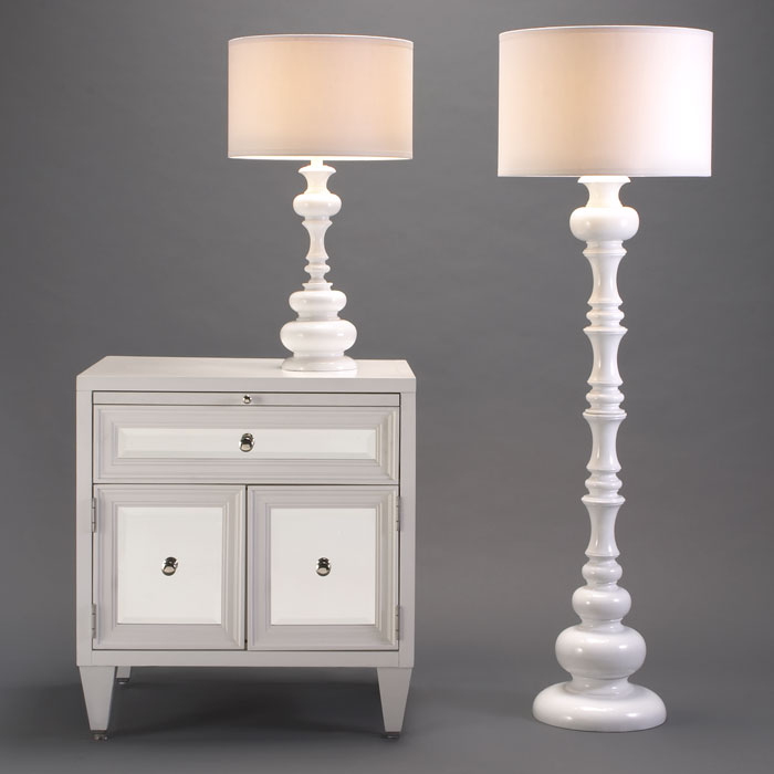 white turned floor lamp and matching table lamp from z gallerie. Black Bedroom Furniture Sets. Home Design Ideas