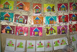 Детские Рисунки аппликация сказка заюшкина избушка зима снег выставка