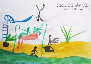 Детские Рисунки акварель река куст человечки
