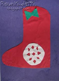Детские Рисунки валенок зимняя