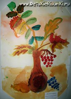 Детские Рисунки осень букет природа гуашь краски листья