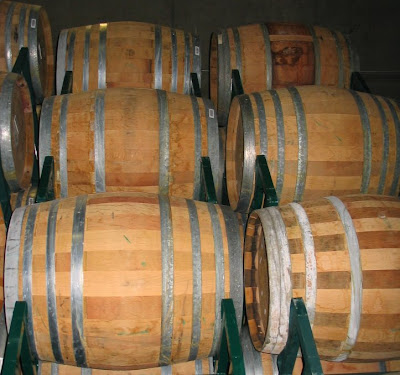 A mixture of barrels at custome crush winery shows different barrels.  Some are French oak, some American and some are a mixture of both. (c)2008 SmellsLikeGrape.