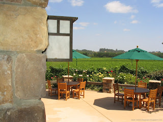 Sunny patio overlooking the vineyard. (c)2008 SmellsLikeGrape
