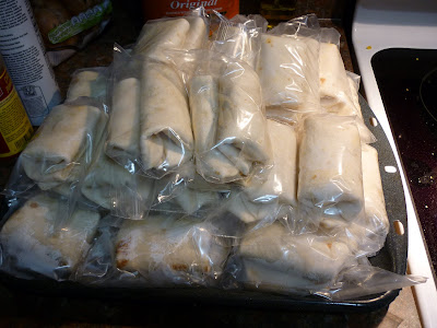 bulk breakfast burritos ready for freezer