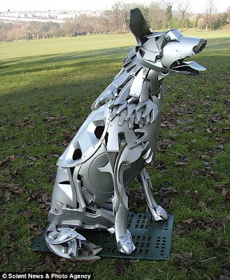 Hubcap Dog Sculpture