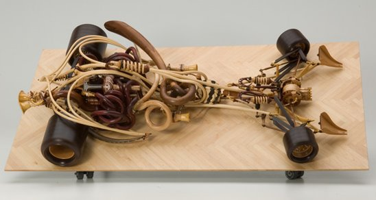 Wooden Art Car Called Gunner By Sculptor Michael Cooper