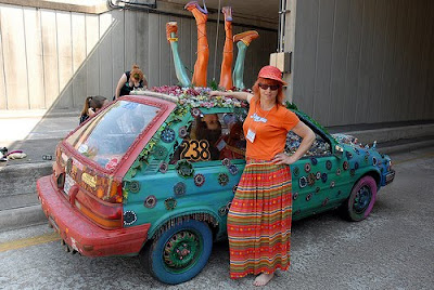 Joy Johnston and her art car, Flivver