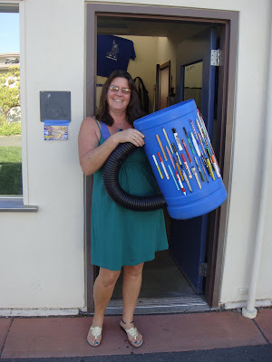 Brigitte and her very own Coffee Mug Pen Donation Barrel at Analy High School