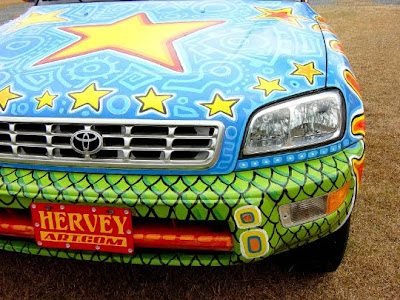 Cosmic Groove Lizard Art Car - Closeup Hood View