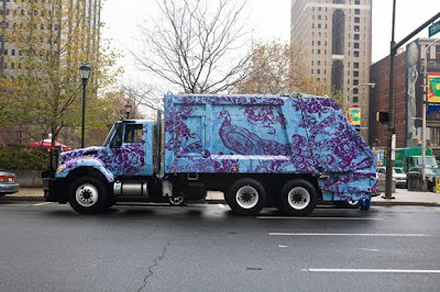 Peacock Garbage Art Truck