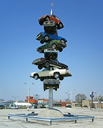 40 Art Cars On Poles And The Famous Spindle Top Gear