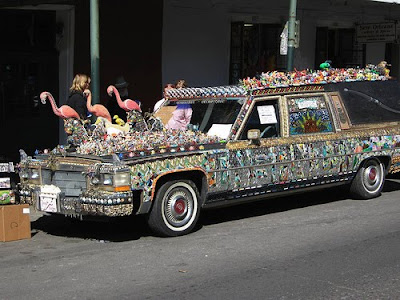 Flamingo Hearse Art Car