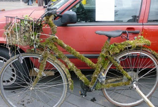Moss covered bicycle