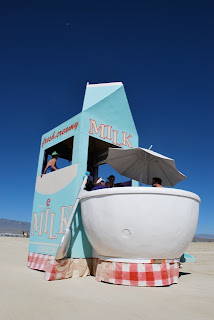 Milktropolis Mutant Vehicle in action at Burning Man Day Time