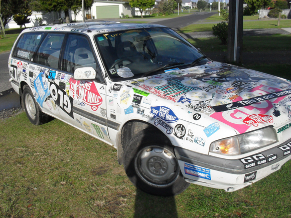 The Telstar of Whangamata Sticker Art Car