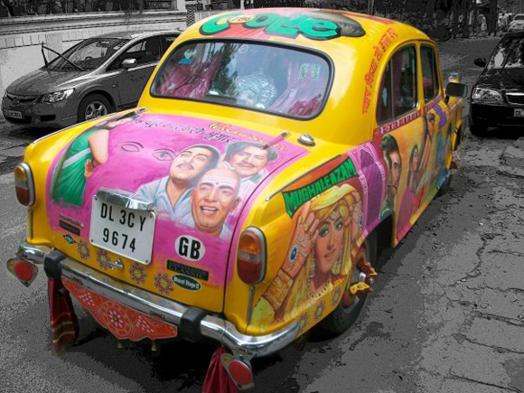 Basanti the Bollywood Amby - Bollywood Art Car Taxi Top Rear