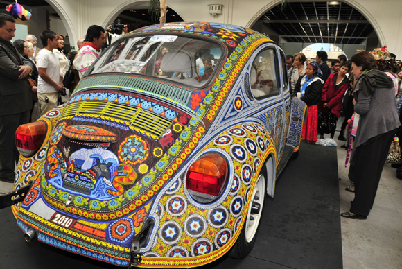 The Vochol VW Art Car Covered in 2000 Beads Rear