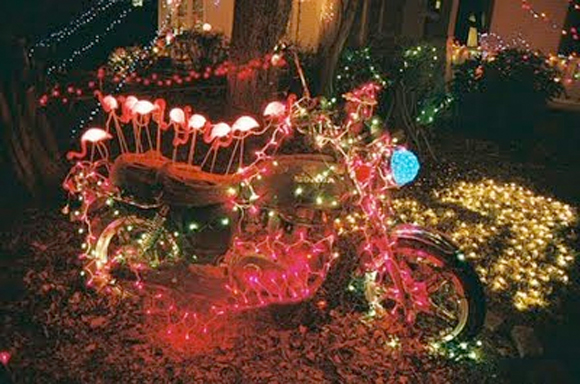 Christmas Motorcycle with Lights - Art Motorcycle