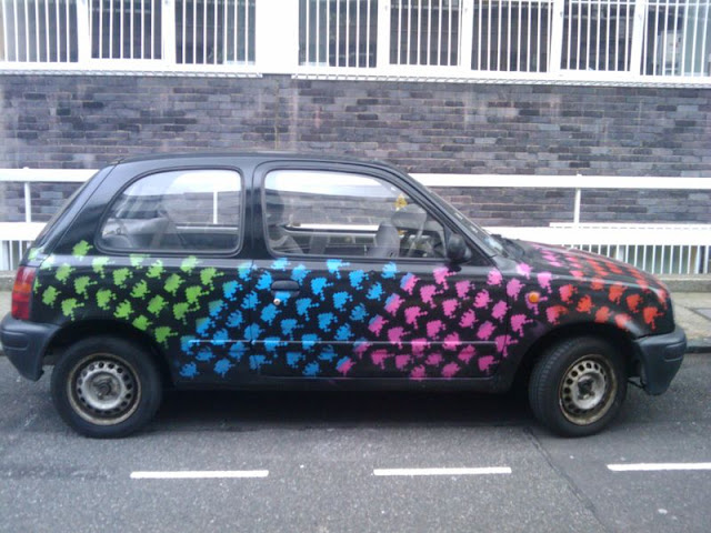 Space Invaders Take Over Art Car - Side