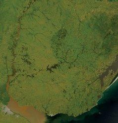 Mapa satelital del Uruguay