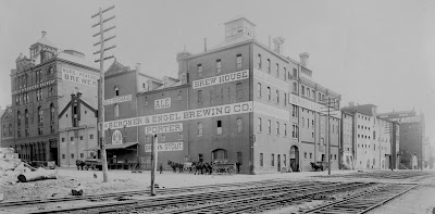 Bergner & Engel Brewing Company, located in the Brewerytown section of Philadelphia, was the third largest beer producer in the country in 1877. 32nd & Master Streets, Philadelphia, Pennsylvania, ca. 1900
