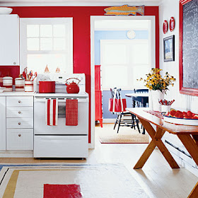 Beach Cottage Love What S Blue White Red All Over This Beachy Kitchen