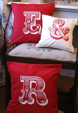 valentine circus font cushions