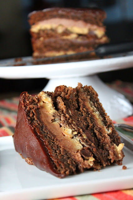 Fat and Happy Blog: Layered Chocolate Peanut Butter Cake