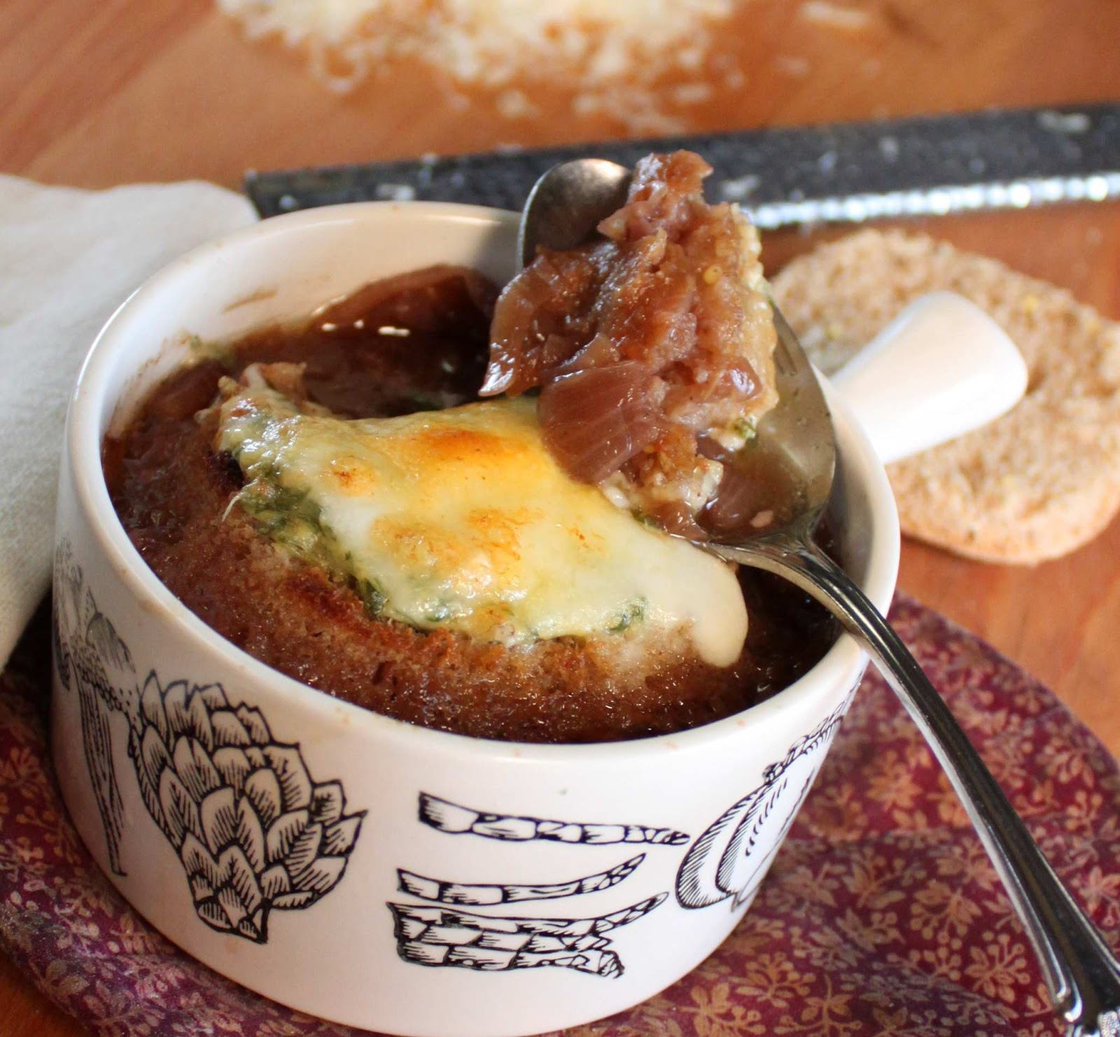 Fat and Happy Blog: French Onion Soup with Mustard Cheese ...