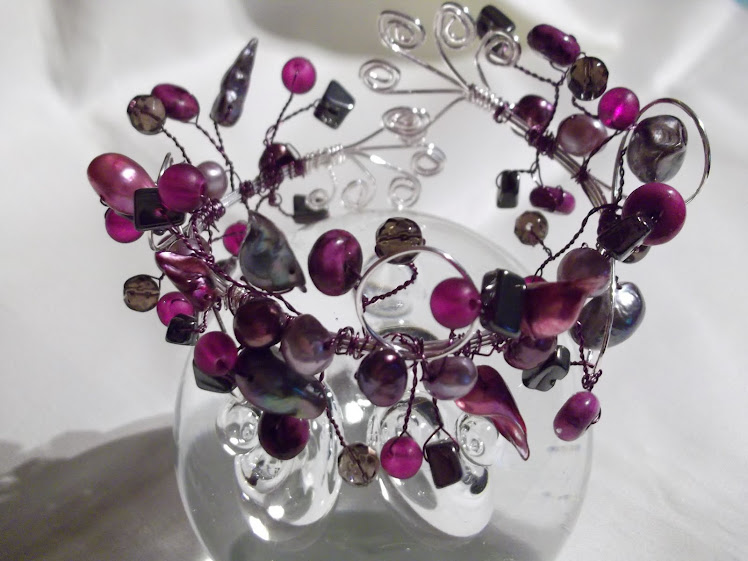 Freshwater pearl and gemstone wirework cuff bangle