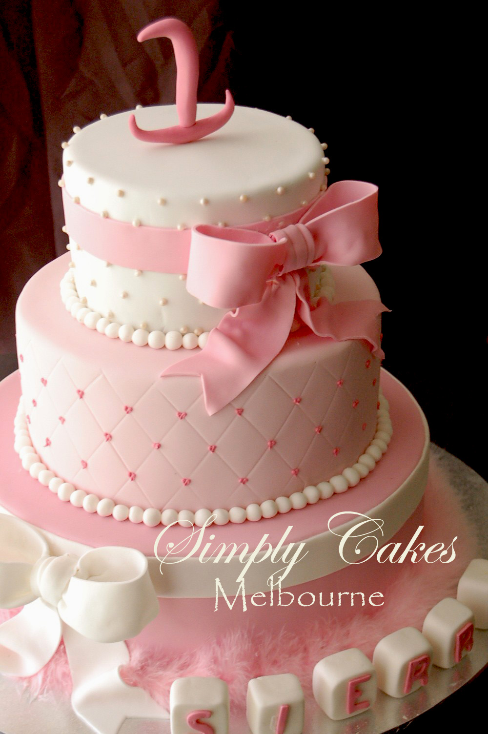 Cooking In Melbourne Sierras 3 tiers 1 st birthday cake
